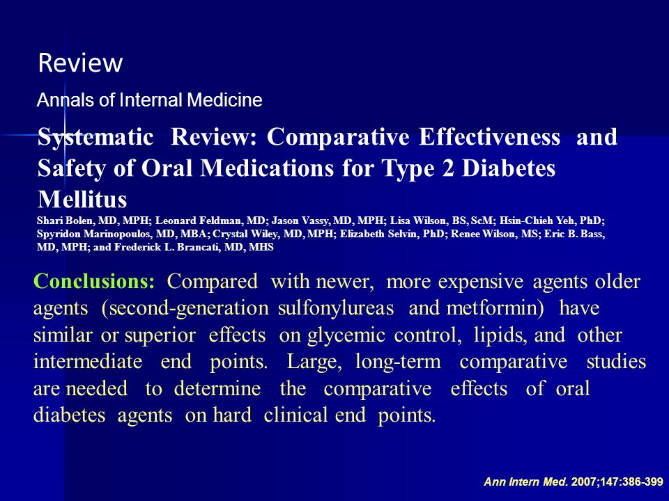 Review Annals of Internal Medicine. Systematic Review: Comparative Effectiveness and Safety of Oral Medications for Type 2 Diabetes Mellitus.