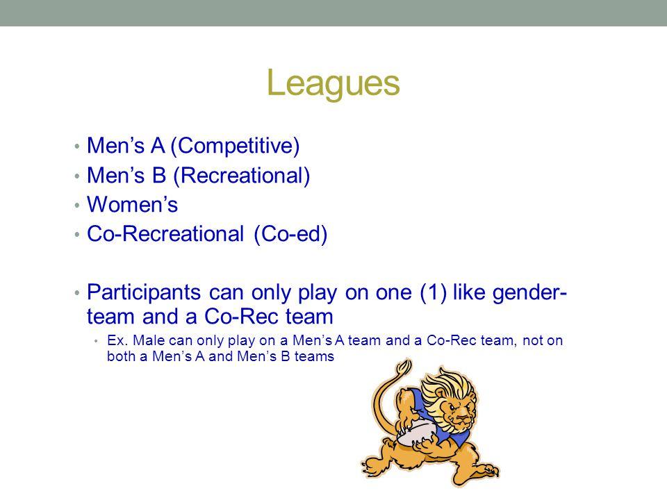 Leagues Men's A (Competitive) Men's B (Recreational) Women's