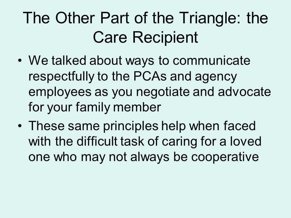 The Other Part of the Triangle: the Care Recipient