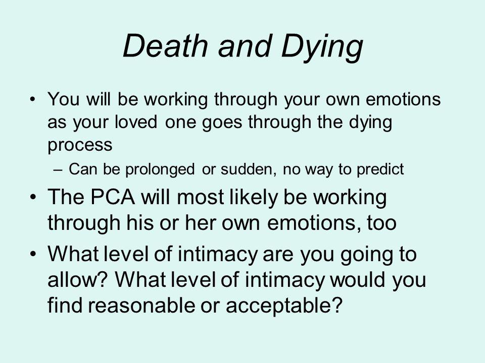Death and Dying You will be working through your own emotions as your loved one goes through the dying process.