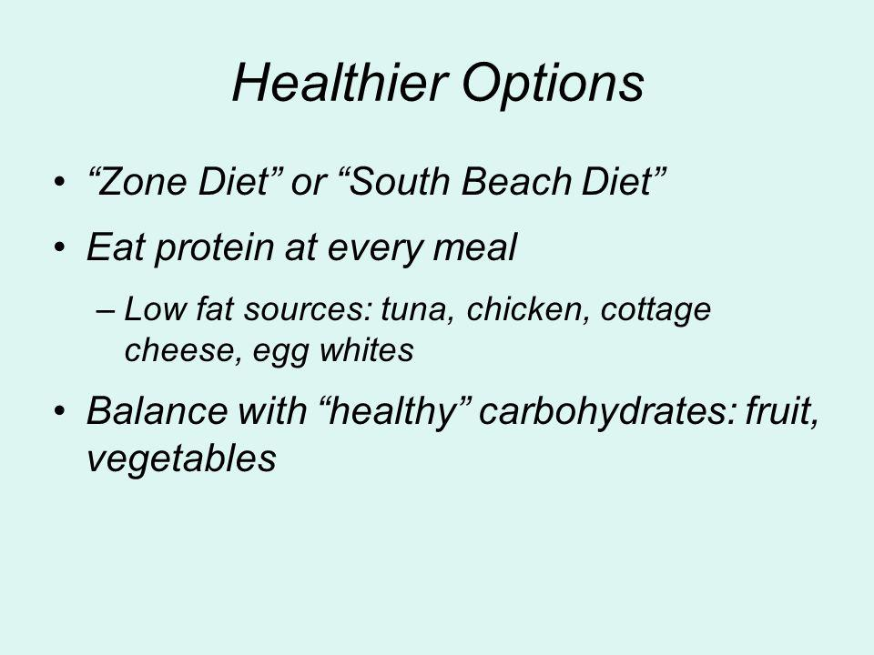 Healthier Options Zone Diet or South Beach Diet