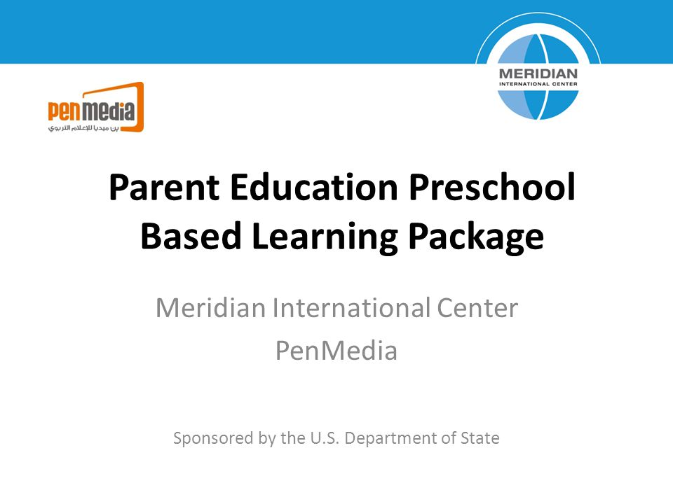 Parent Education Preschool Based Learning Package