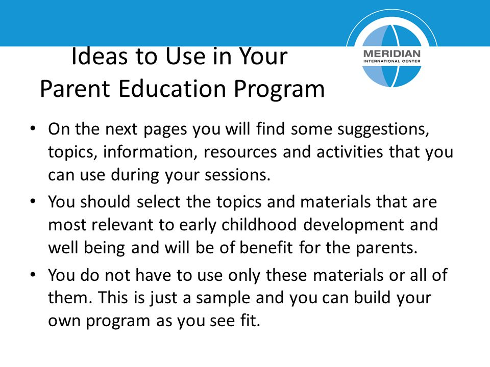 Ideas to Use in Your Parent Education Program