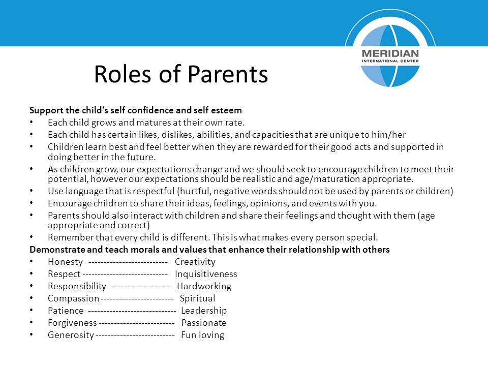 Roles of Parents Support the child's self confidence and self esteem