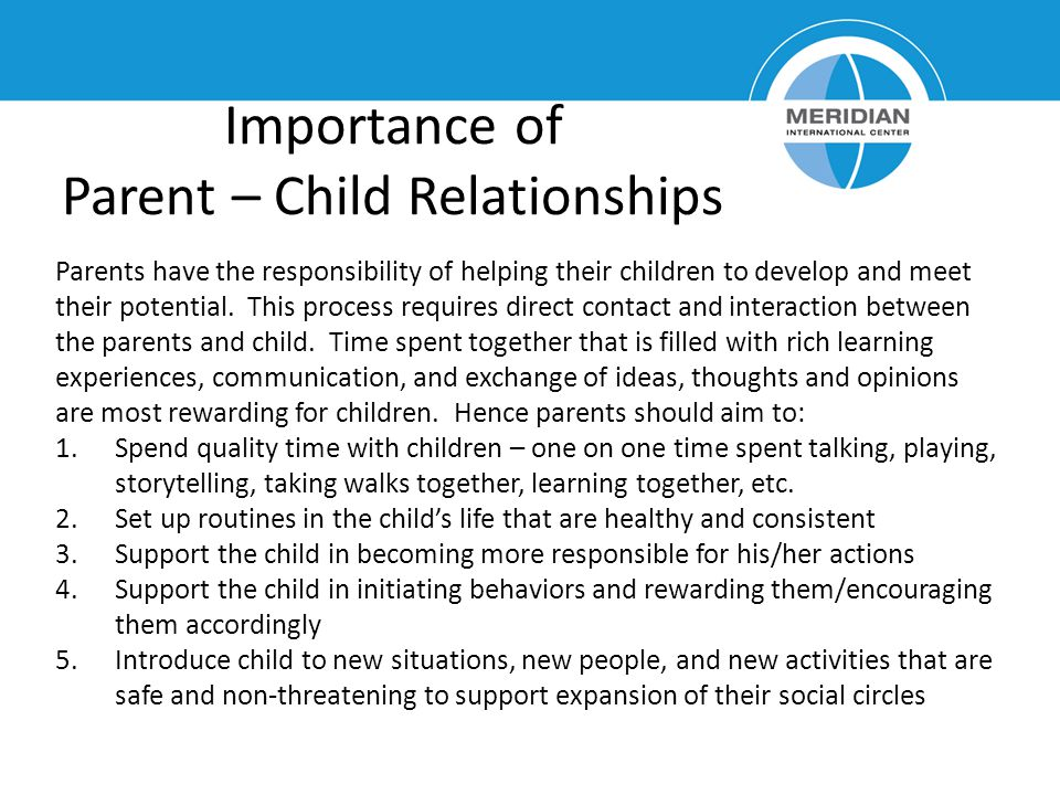 Importance of Parent – Child Relationships