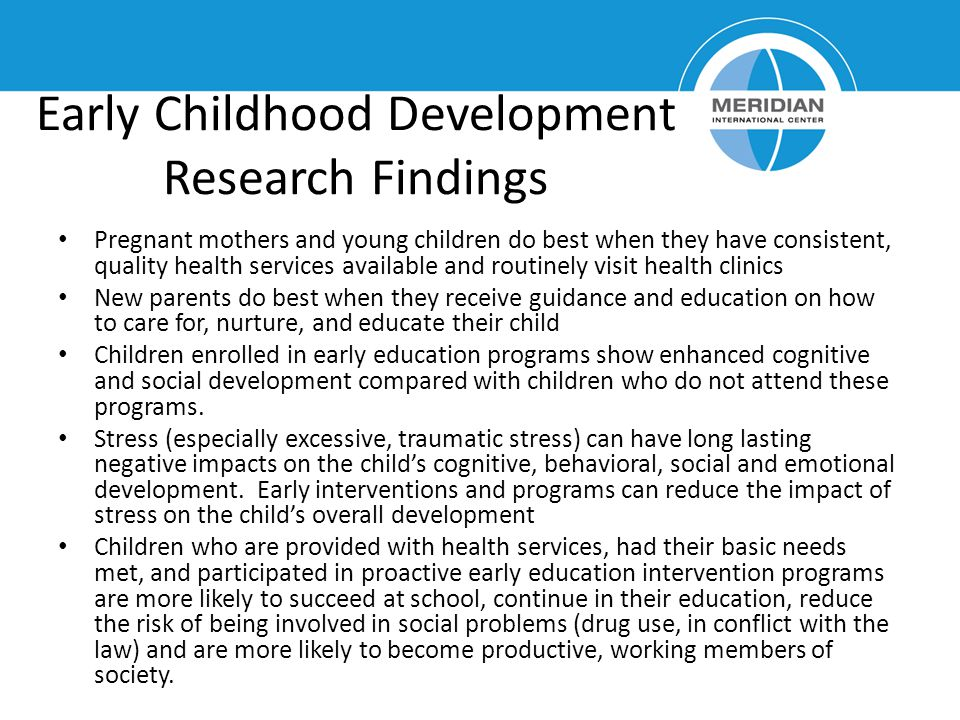 Early Childhood Development Research Findings