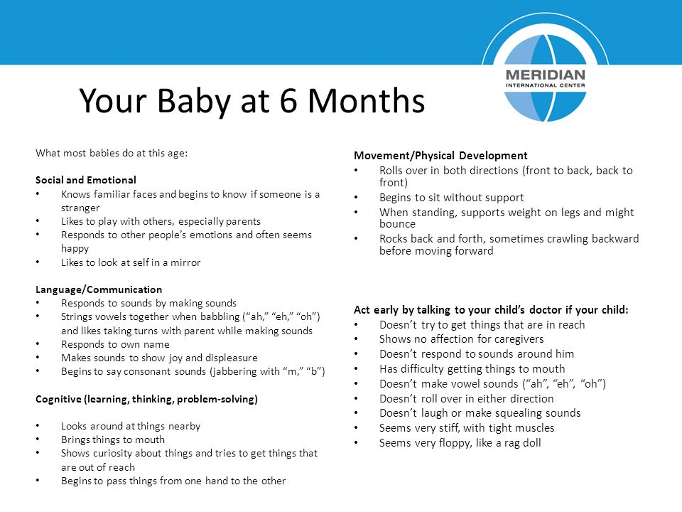 Your Baby at 6 Months Movement/Physical Development