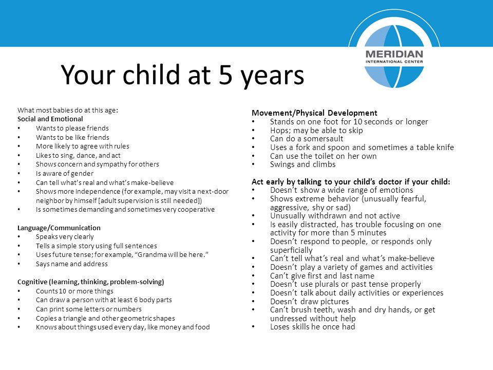 Your child at 5 years Movement/Physical Development