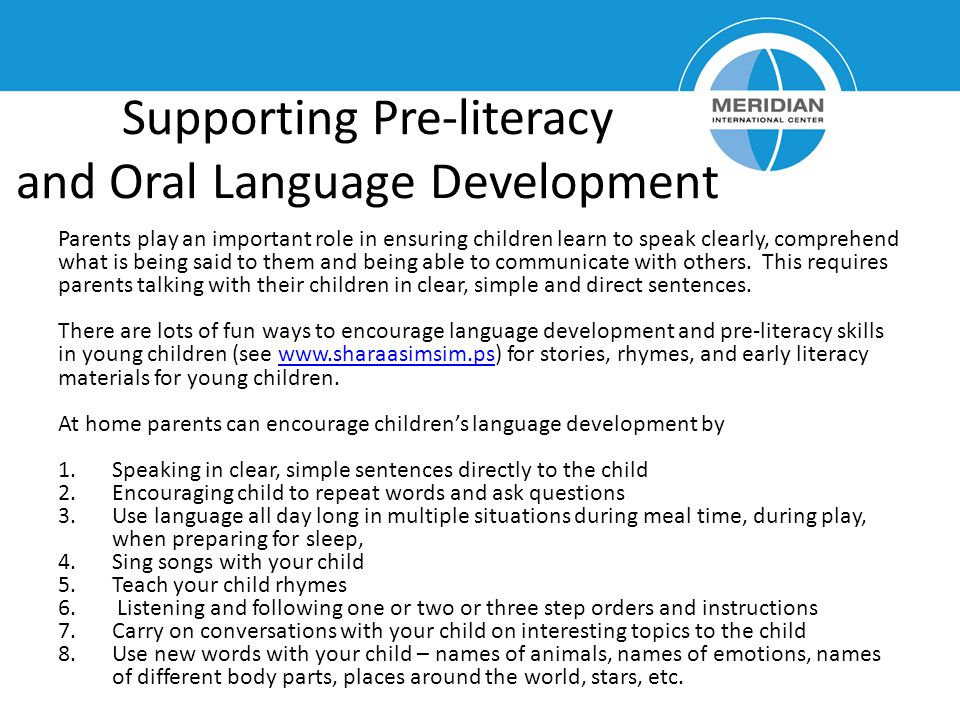 Supporting Pre-literacy and Oral Language Development