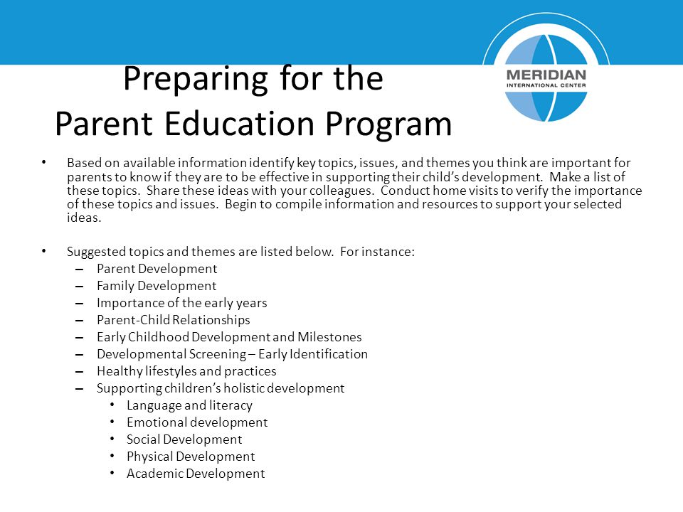 Preparing for the Parent Education Program