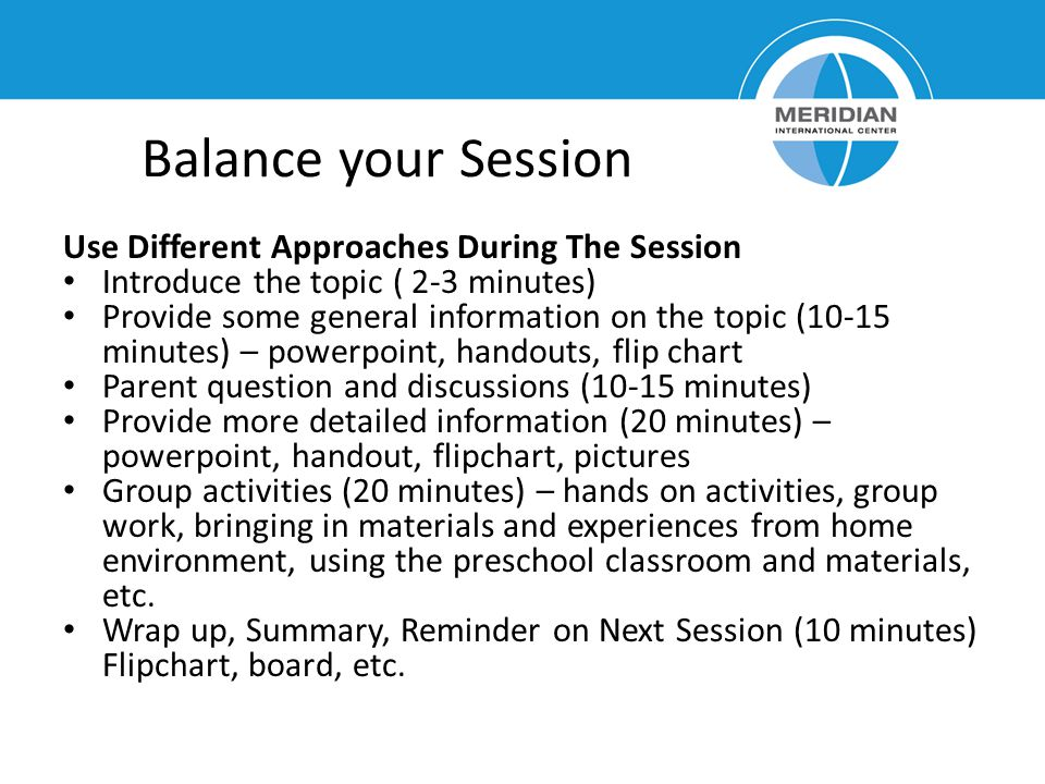 Balance your Session Use Different Approaches During The Session