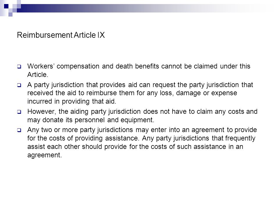 Reimbursement Article IX
