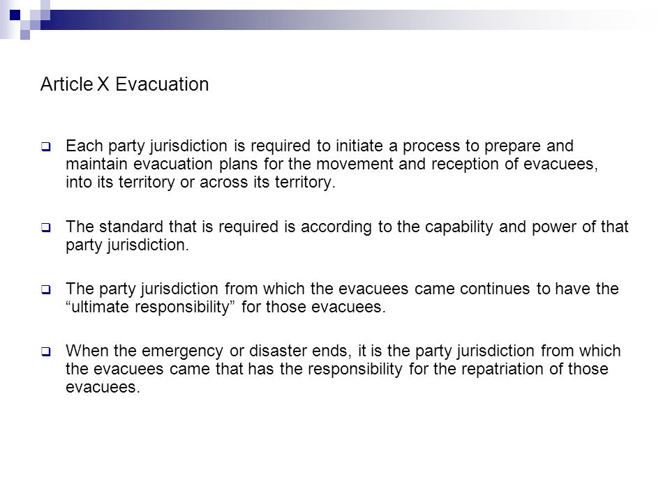 Article X Evacuation