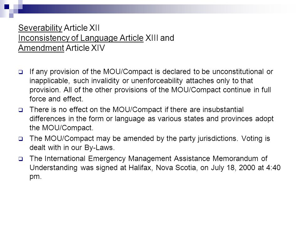 Severability Article XII Inconsistency of Language Article XIII and Amendment Article XIV