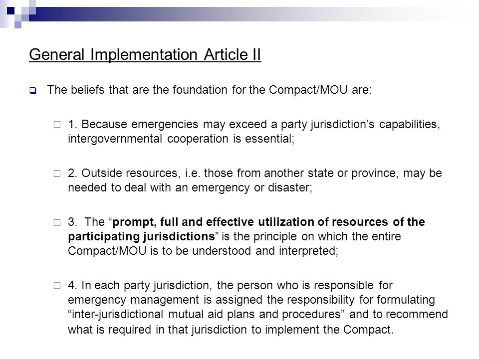 General Implementation Article II