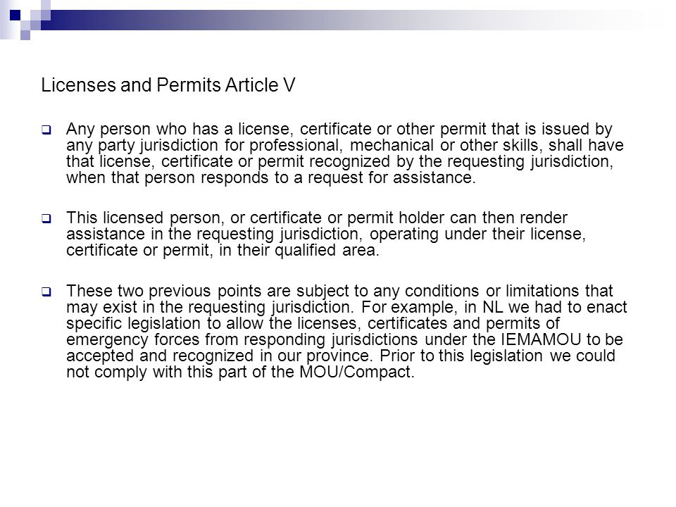Licenses and Permits Article V