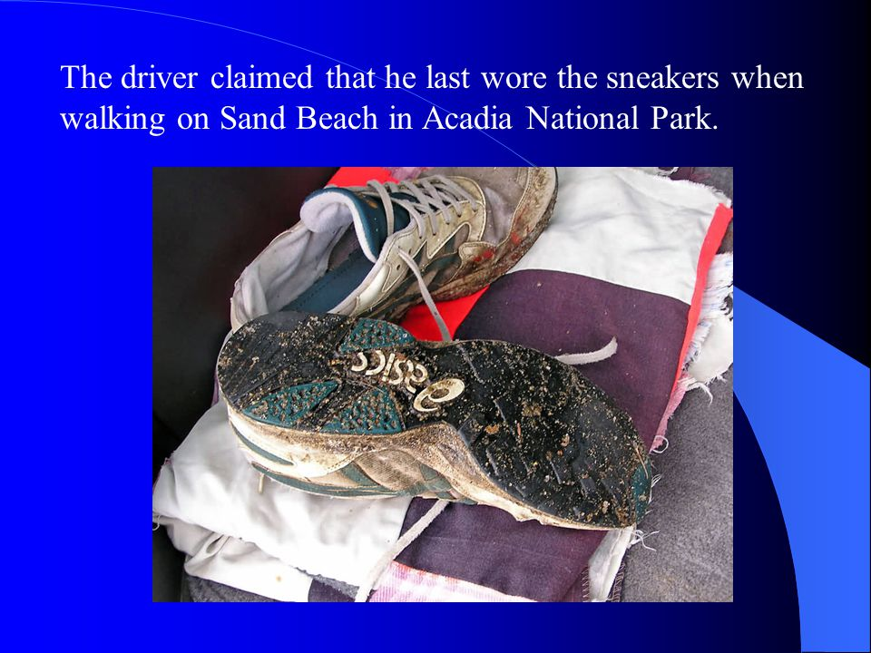 The driver claimed that he last wore the sneakers when walking on Sand Beach in Acadia National Park.