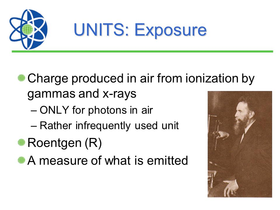 UNITS: Exposure Charge produced in air from ionization by gammas and x-rays. ONLY for photons in air.