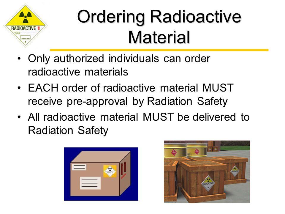 Ordering Radioactive Material