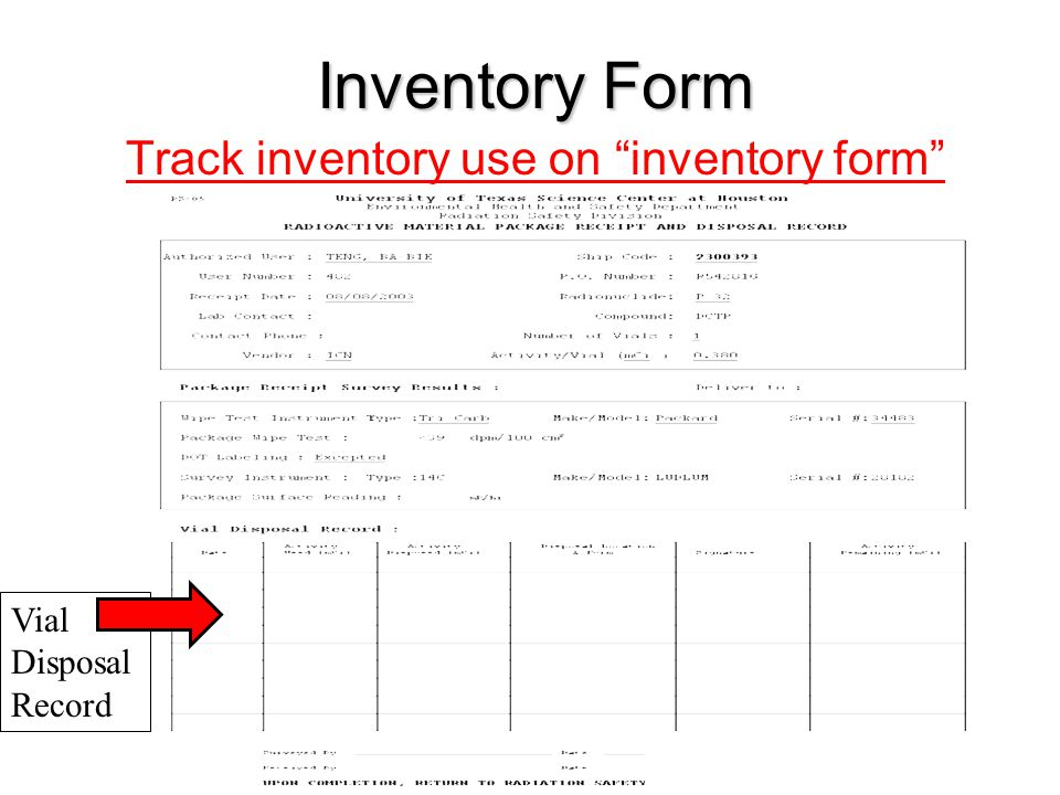 Inventory Form Track inventory use on inventory form