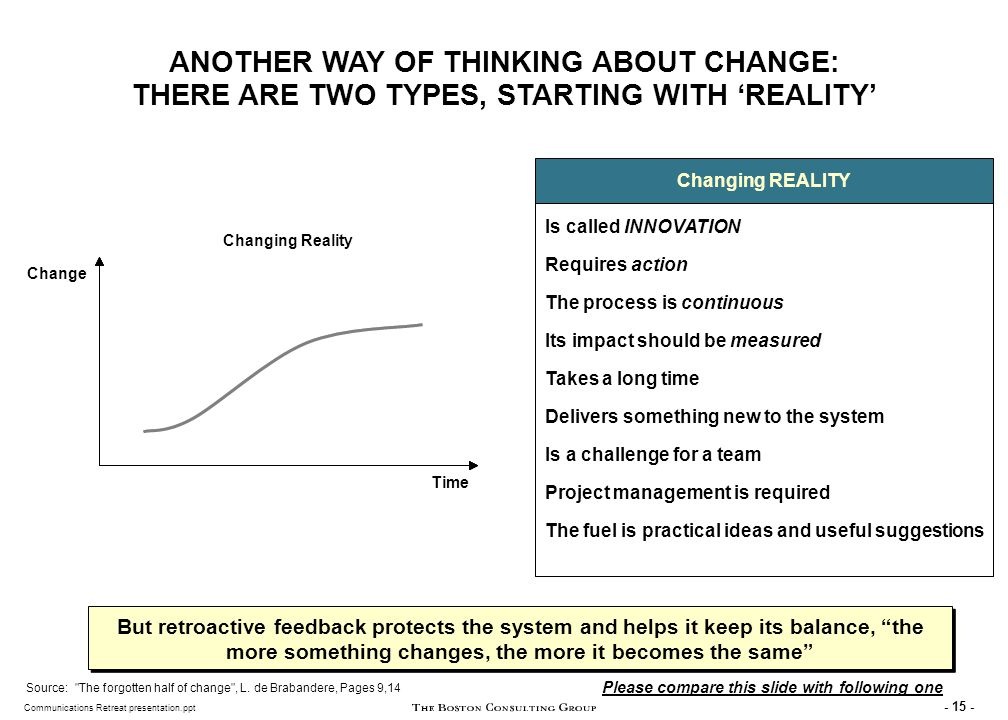 SECOND TYPE OF CHANGE: CHANGE IN PERCEPTION (A JOB FOR COMMUNICATIONS TEAMS!)