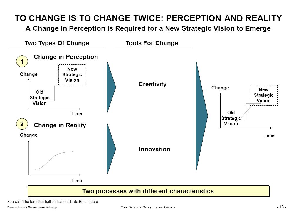 THE NEW STRATEGIC VISION REPRESENTS THE CHANGE IN PERCEPTION AND ALLOWS FURTHER CHANGES IN REALITY
