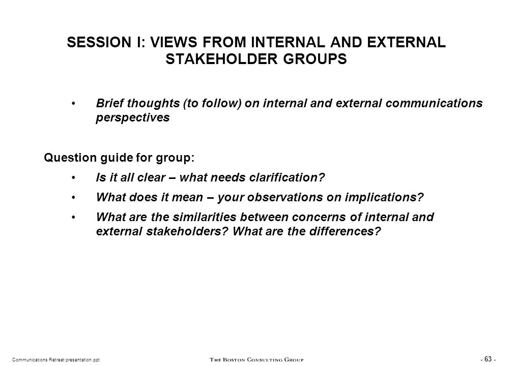 INTERNAL STAKEHOLDERS Examples of Major Internal UN Concerns