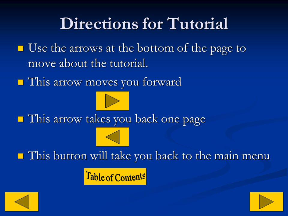 Directions for Tutorial