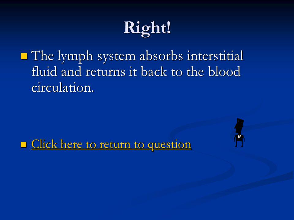 Right. The lymph system absorbs interstitial fluid and returns it back to the blood circulation.
