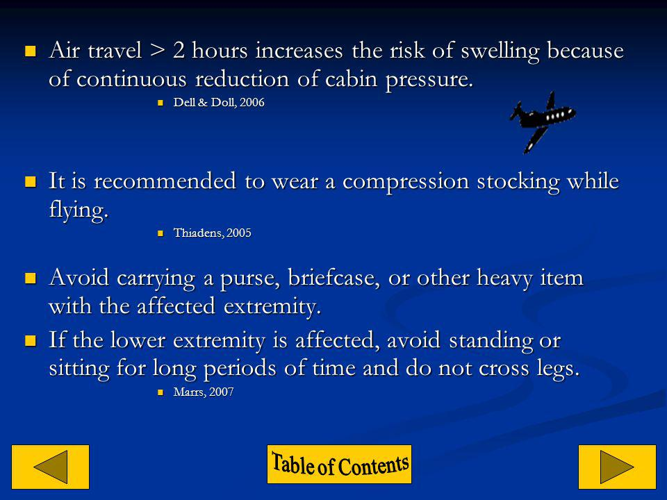 It is recommended to wear a compression stocking while flying.