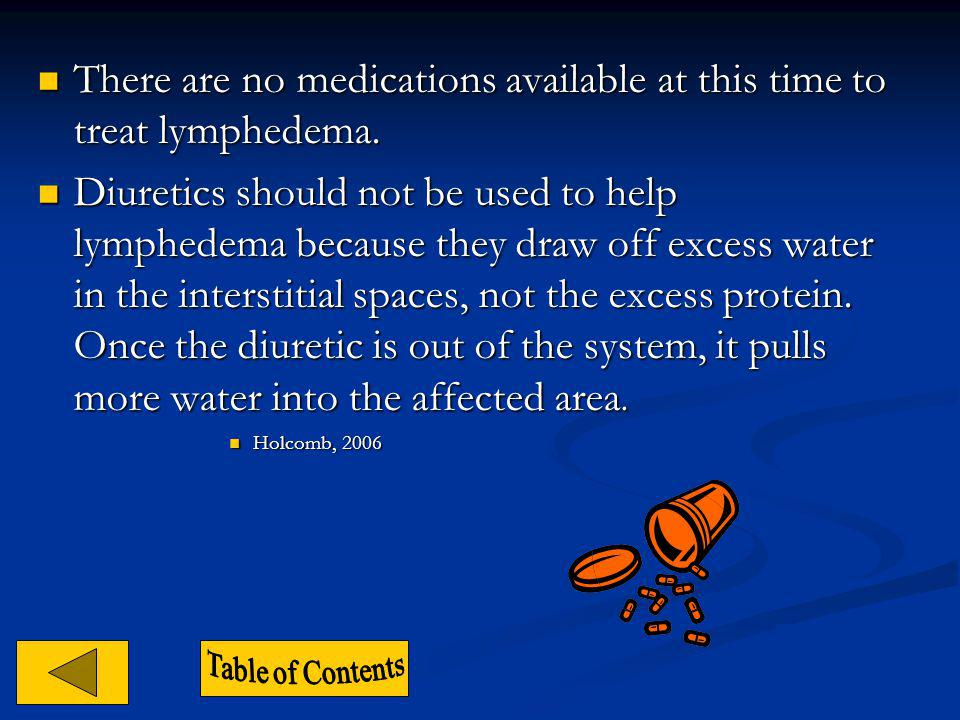 There are no medications available at this time to treat lymphedema.
