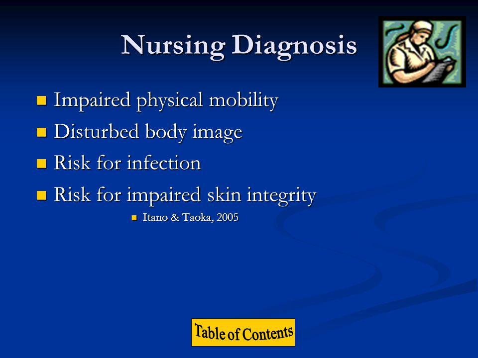 Nursing Diagnosis Impaired physical mobility Disturbed body image