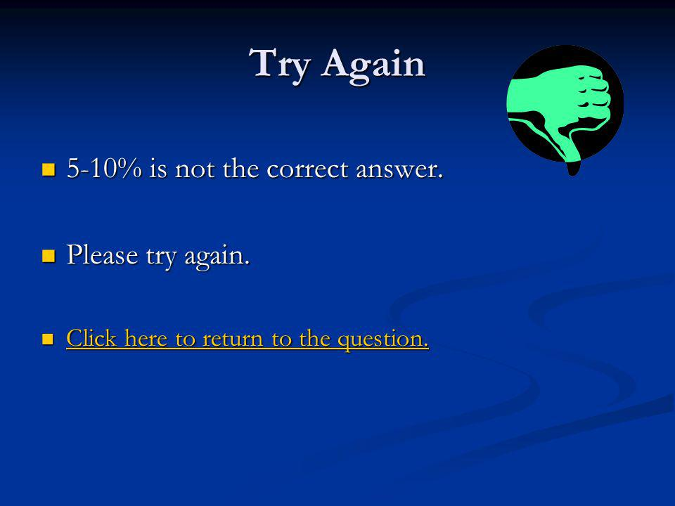 Try Again 5-10% is not the correct answer. Please try again.