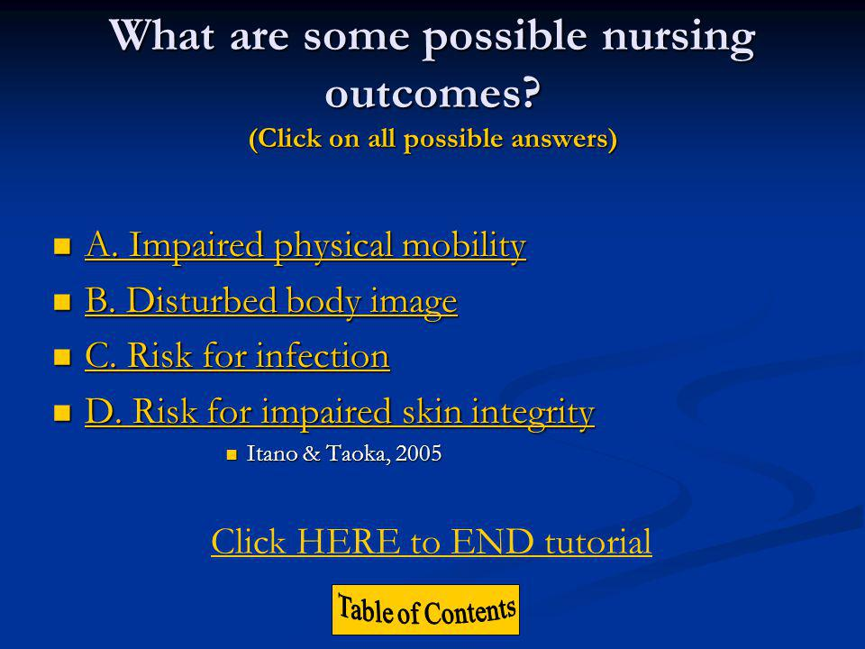 What are some possible nursing outcomes
