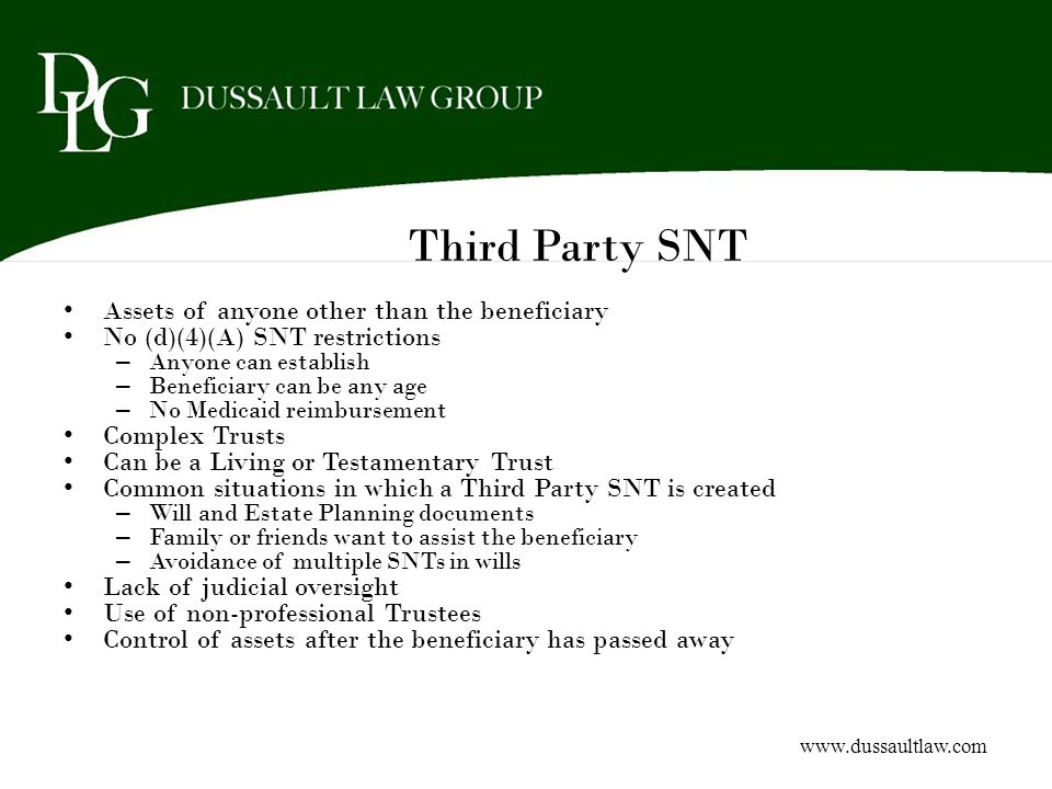 Third Party SNT Assets of anyone other than the beneficiary