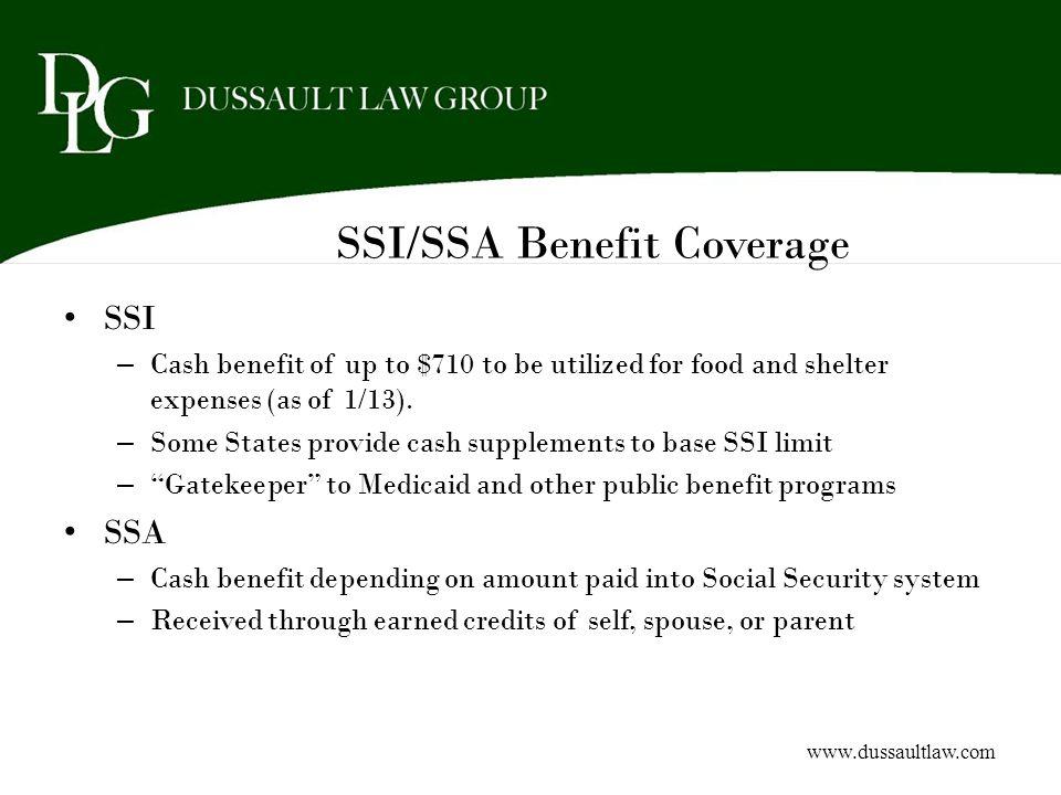 SSI/SSA Benefit Coverage