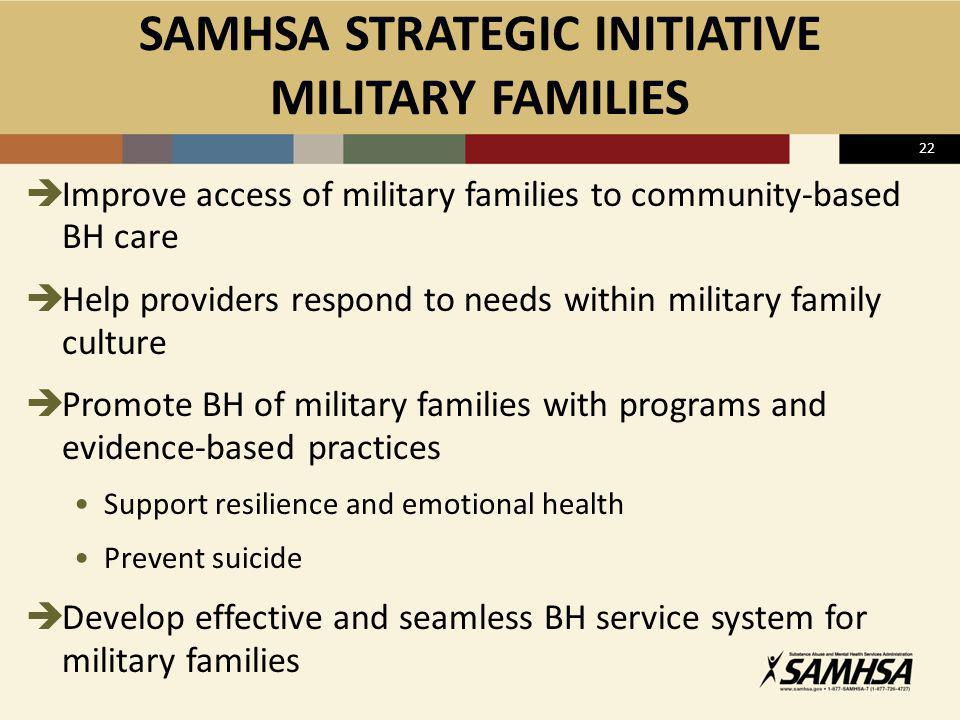SAMHSA STRATEGIC INITIATIVE MILITARY FAMILIES