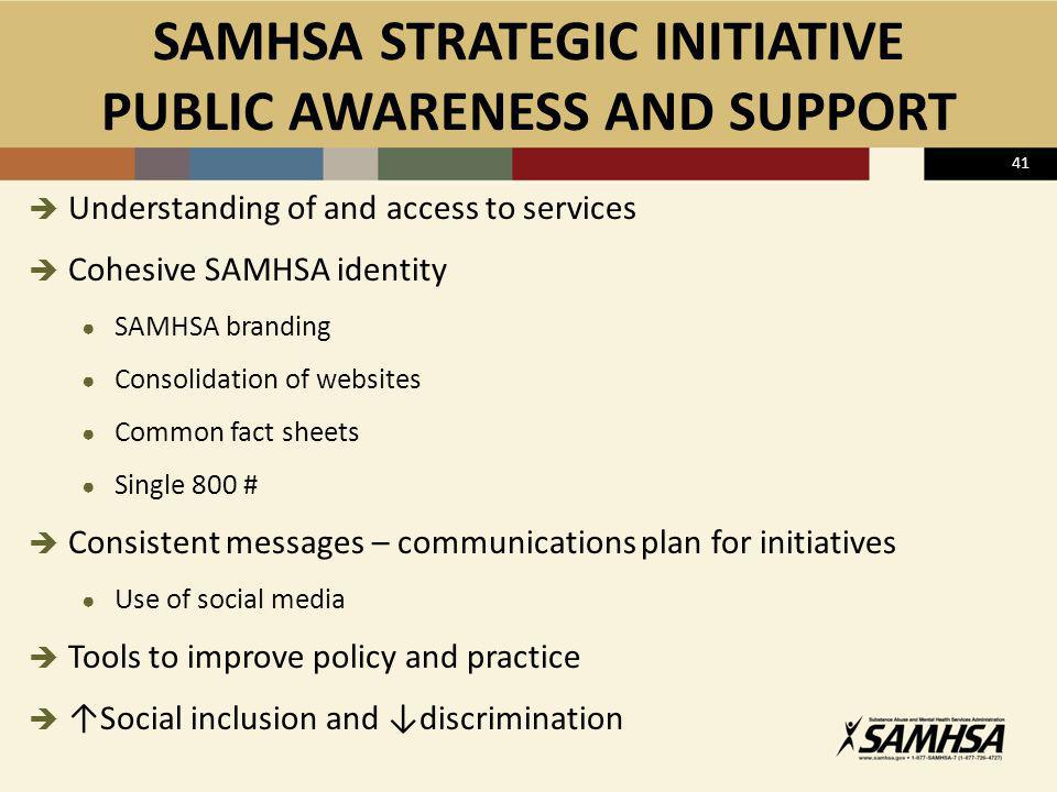 SAMHSA STRATEGIC INITIATIVE PUBLIC AWARENESS AND SUPPORT