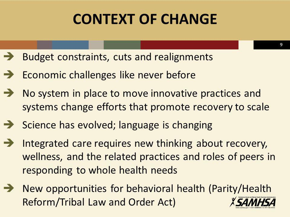 CONTEXT OF CHANGE Budget constraints, cuts and realignments
