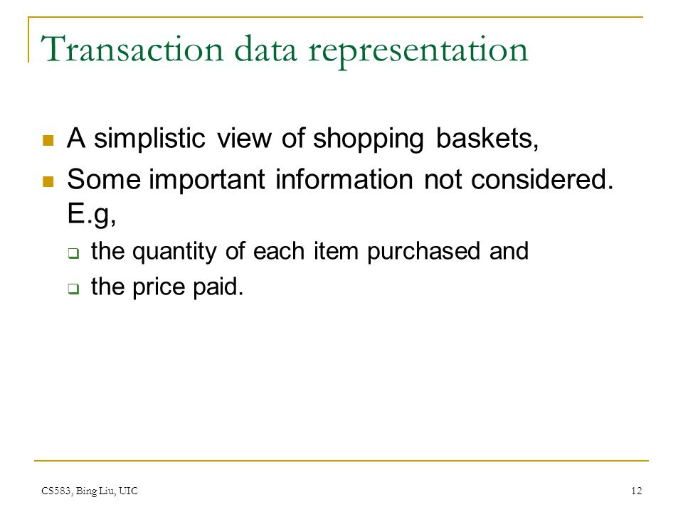 Transaction data representation