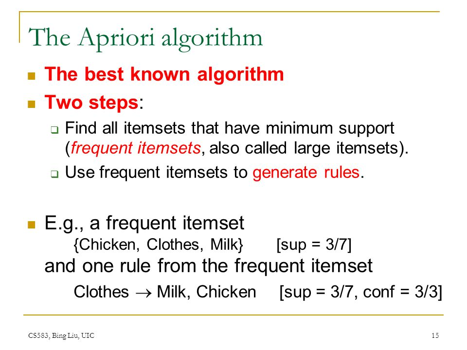The Apriori algorithm The best known algorithm Two steps: