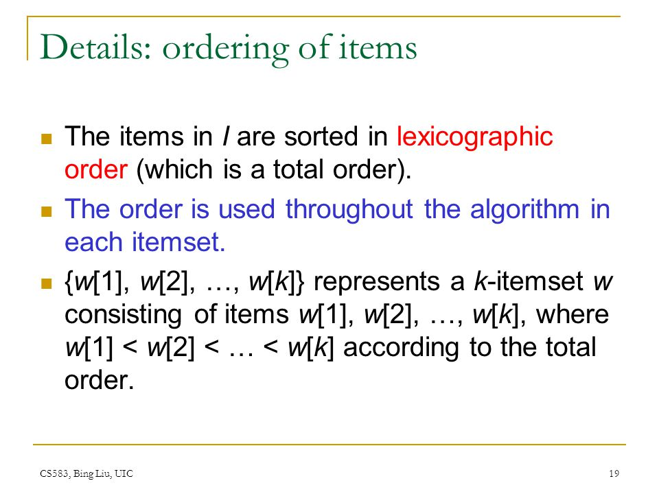 Details: ordering of items
