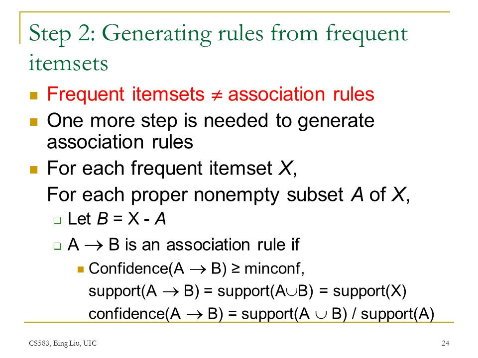 Step 2: Generating rules from frequent itemsets