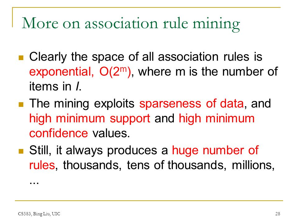 More on association rule mining