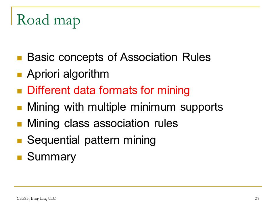 Road map Basic concepts of Association Rules Apriori algorithm