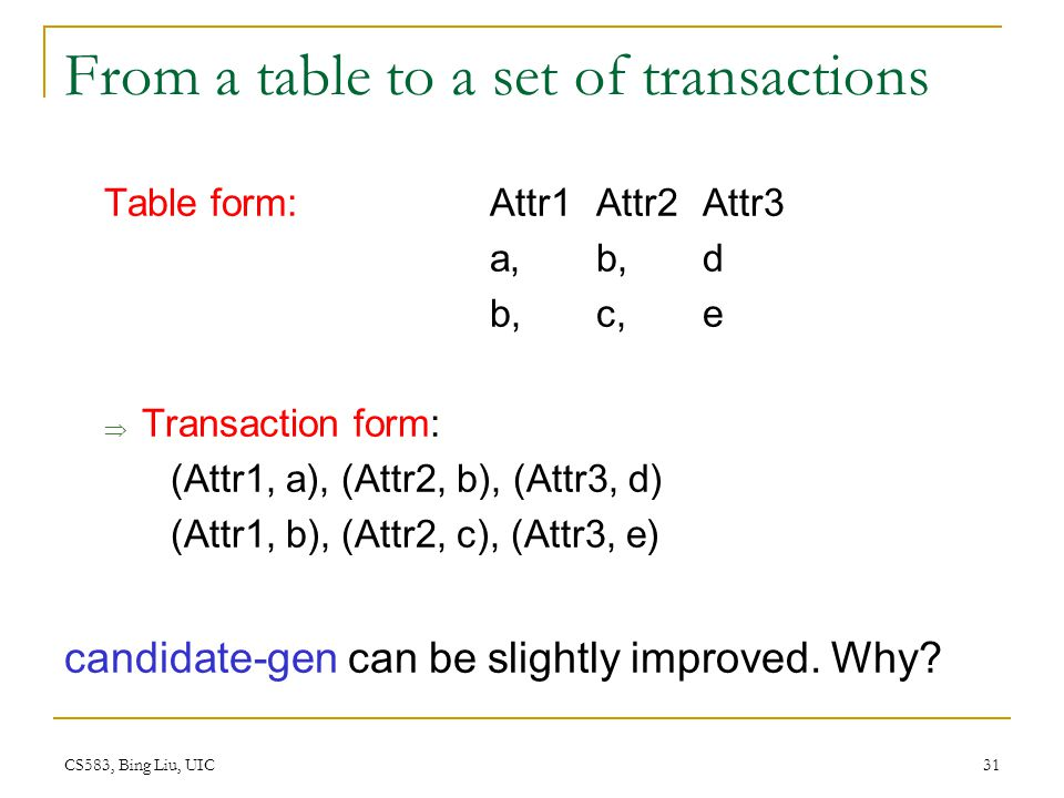 From a table to a set of transactions
