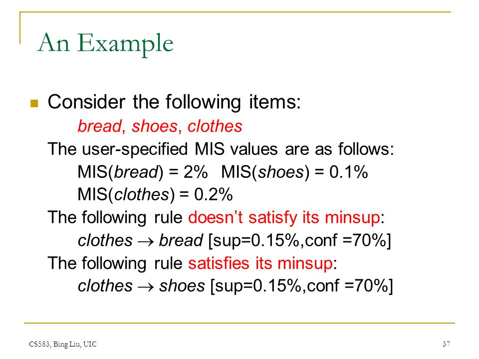 An Example Consider the following items: bread, shoes, clothes