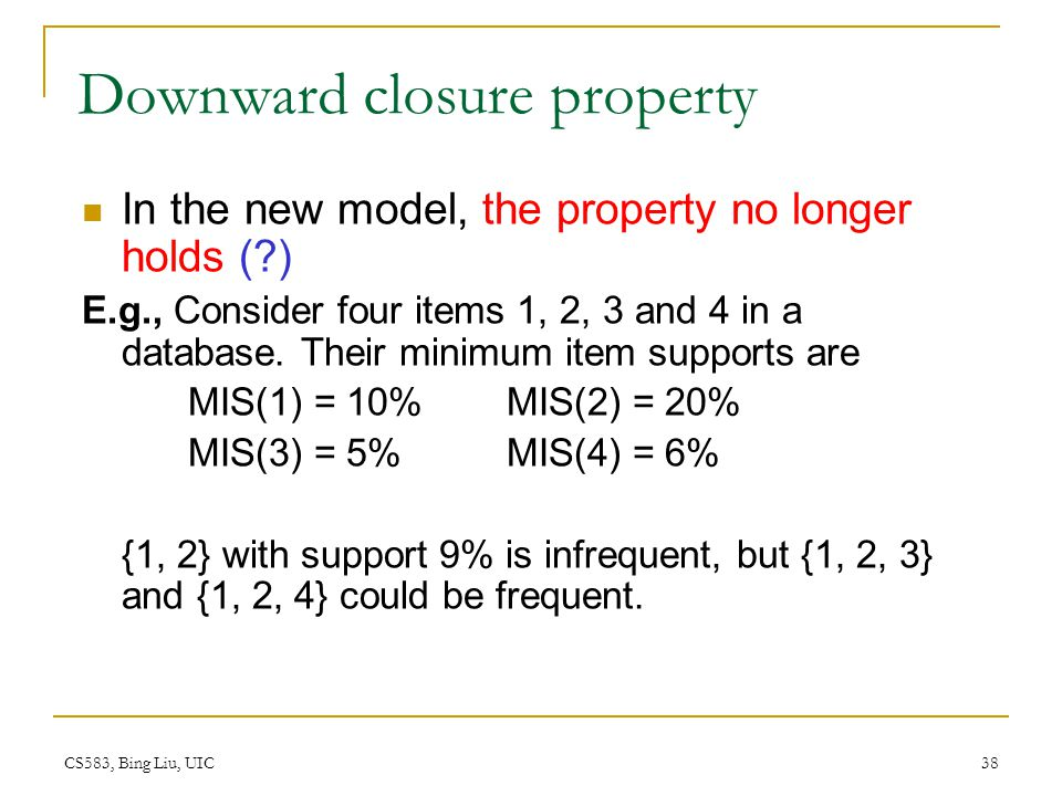 Downward closure property