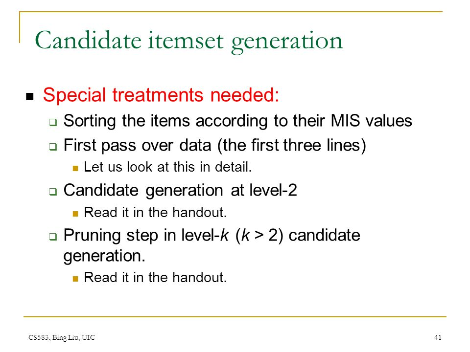 Candidate itemset generation