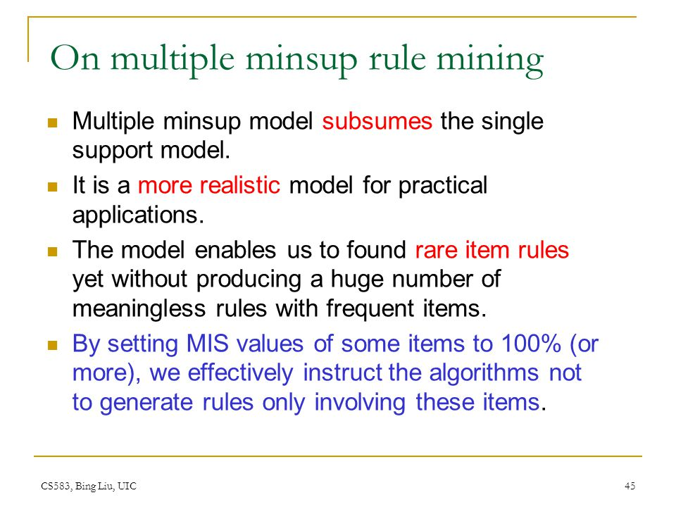 On multiple minsup rule mining